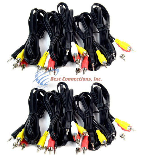 10 PACK 5 feet 3 RCA Male to 3.5mm Male Jack Cable AV Audio Video Connector OFC