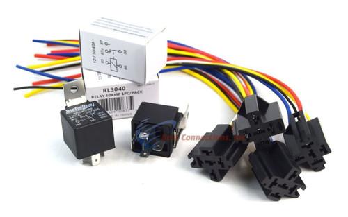12v DC SPDT 30//40A 5 Wire 16-14 GA Gauge Relay Socket Harness 20 Pack ERS-124