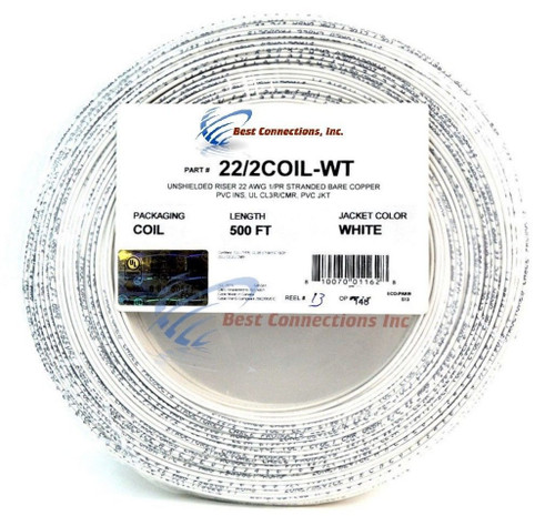 22 Gauge Stranded Copper Alarm Wire 2 Conductor 500 Feet Cable Coil Pack UL Rated