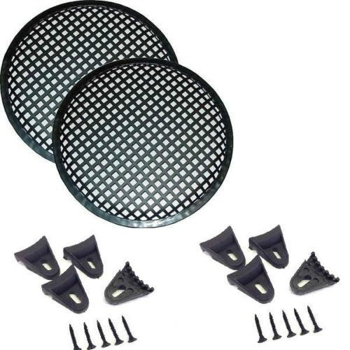 """1 Pair 6.5"""" Inch Waffle Speaker Sub Woofer Metal Grills w/ Clips and Screws"""