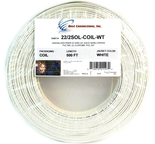White 22 GA Gauge AWG 2 Conductor Solid Copper Alarm Wire Security Cable
