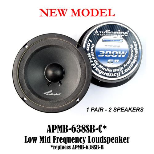 "2 Pcs 6"" Sealed Back Speakers Car Audio Stereo Audiopipe APMB-638SB-C (1-Pair)"