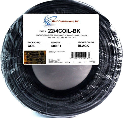 22 Ga  4 Conductor UL STRANDED COPPER BLACK 500 FT Security Alarm Wire