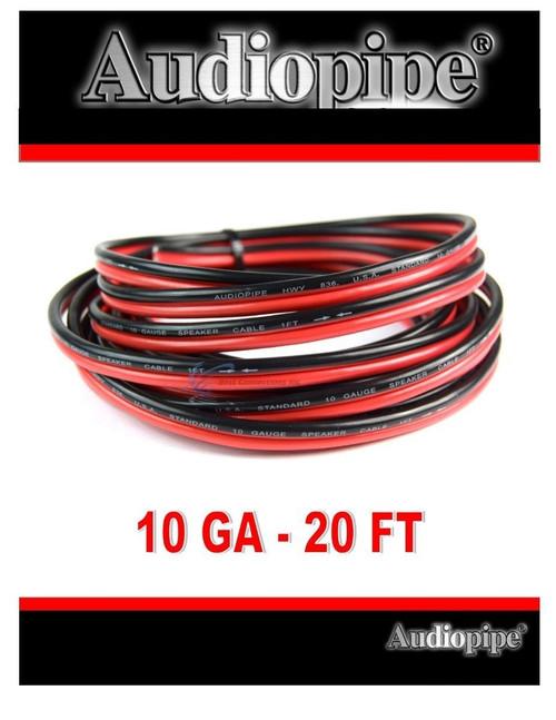 20' Feet 10 GA Gauge Red Black 2 Conductor Speaker Wire Audio Cable Audiopipe