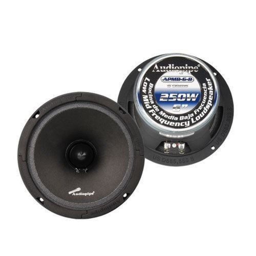 "1 Pair 6.5"" 6"" Car Audio Loud Speakers Low Mid Range DJ Audiopipe APMB-6-B"