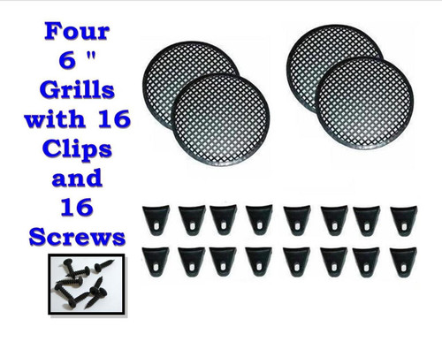 """FOUR 6"""" INCH WAFFLE SPEAKER SUB WOOFER GRILLS WITH CLIPS AND SCREWS DJ-CAR-HOME"""