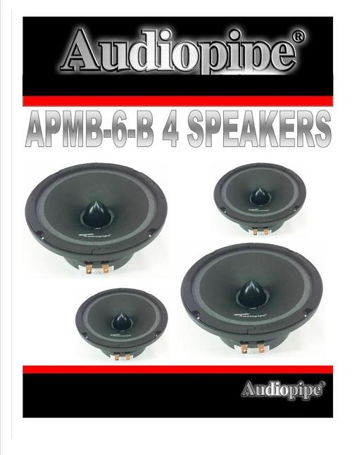 "2 Pairs 6.5"" 6"" Car Audio Loud Speakers Low Mid Range DJ Audiopipe APMB-6-B"