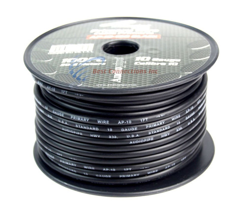 10 GA gauge 100 feet Black Audiopipe Car Audio Home Primary Remote Wire