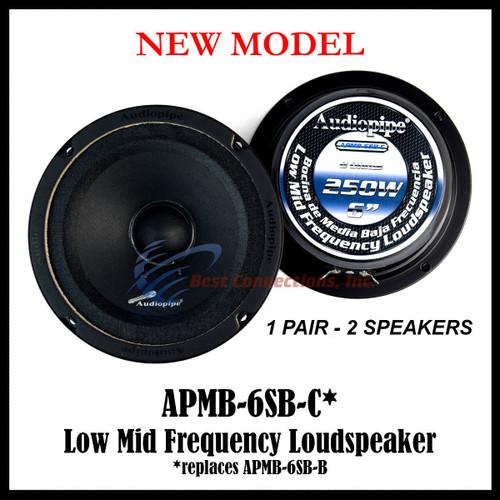 "1-Pair Audioppipe 6"" Sealed Back Full Range Loud Speaker Mid APMB-6SB-C"