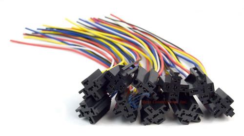 12v DC SPDT 30/40A 5 Wire 16-14 GA Gauge Relay Socket Harness 10 Pack ERS-124