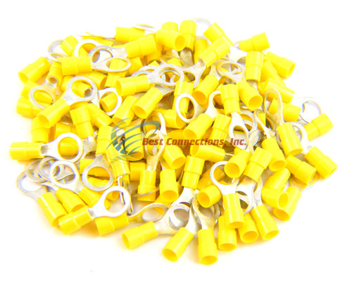 "Yellow Vinyl Ring Terminal Connector 5//16/"" 12-10 Gauge AWG 100 PCS Install Bay"