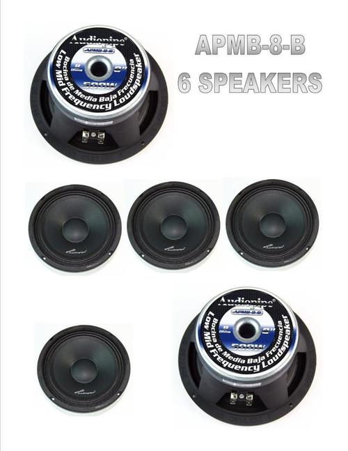 """3 Pairs 8"""" 500W Full Range Loud Speakers Low Mid Range Audiopipe APMB-8-B"""