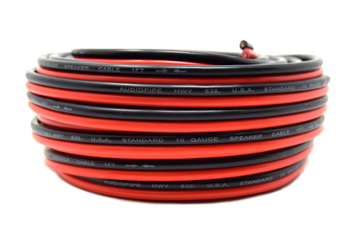 Red Black 10 Ga 50' Speaker Woofer Wire Cable Car Home Audio Stranded Copper Mix