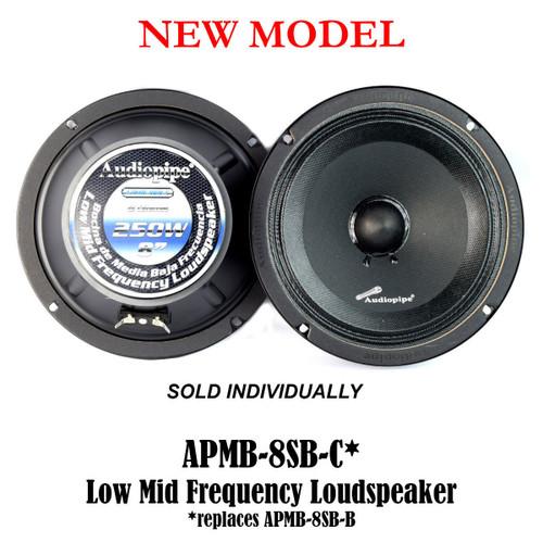 "8"" 250 Watts Car Audio Speakers Mids Sealed Back Full Range Audiopipe APMB-8SB-C"