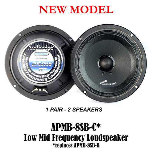 "1 Pair 8"" 250 Watts Car Audio Speakers Mids Sealed Back Full Range APMB-8SB-C"
