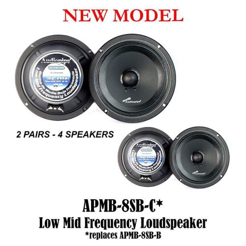 "2 Pairs 8"" 250 Watts Car Audio Speakers Mids Sealed Back Full Range APMB-8SB-C"