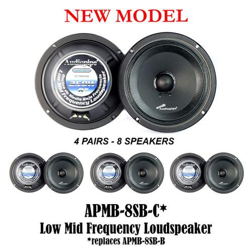 """4 Pair 8"""" 250W Low Mid Frequency Loud Speakers Full Range Audiopipe APMB-8SB-C"""
