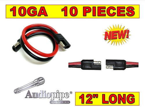 """10 Pack 10 Gauge 12"""" Inch Quick Disconnect Connect 2 Pin Polarized Wire Harness"""