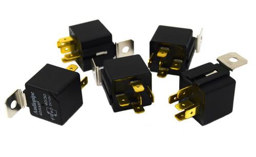 5 Pack 12 Volt DC 30 40 Amp Sealed Relay Metal Tab Car Audio Alarm Audiopipe