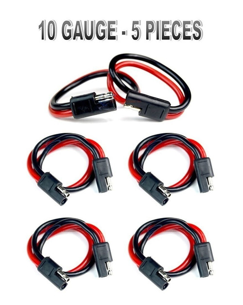 """5 pack 12"""" 10 Gauge 2 Pin Quick Disconnect Audiopipe Polarized Wire Harness"""