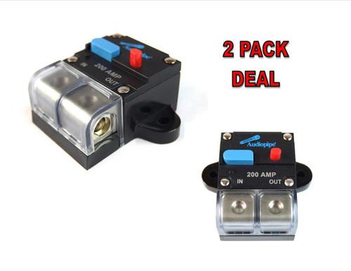 2 Pack 12 Volt 200 AMP Manual Resettable Circuit Breaker Car Audio and Marine