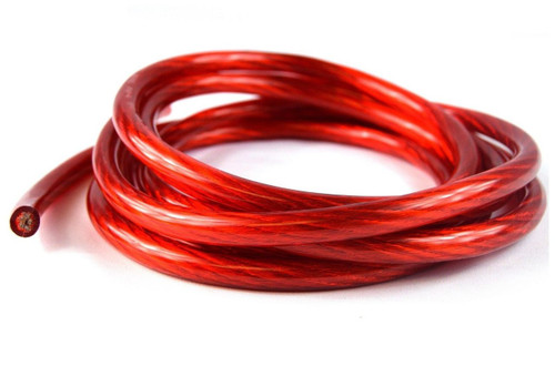 20' FT 4 GA RED WIRE CABLE POWER GROUND PRIMARY AMP AUDIO AUDIOPIPE