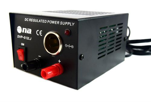 DC Regulated Power Supply 3-5 Amp Surge Converter 117 AC to 13.8V Lighter Socket