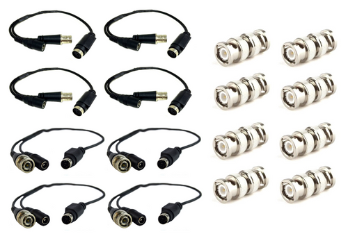 4 Pair Male and Female LOREX Cable 4-Pin DIN Connector w/ 8 BNC Male Connectors