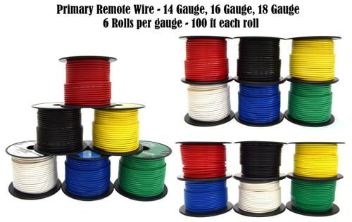 6 Rolls 14 / 16 / 18 Gauge 100 Feet Primary Remote Power Ground Wire 1800' Total