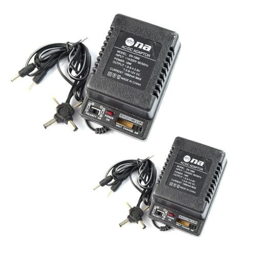 2 Pcs AC DC Power Adapter Polarity Switchable 1000ma 1.5V 3V 4.5V 6V 7.5V 9V 12V