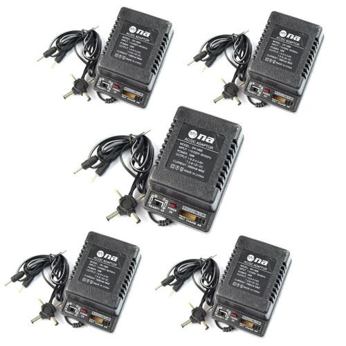 5 Pcs AC DC Power Adapter Polarity Switchable 1000ma 1.5V 3V 4.5V 6V 7.5V 9V 12V