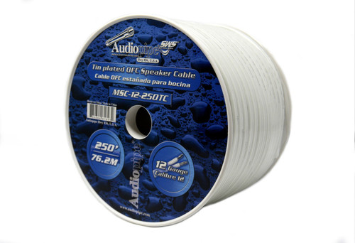 250 ft 12 Gauge Marine Grade Speaker Cable Wire Tin Plated OFC White