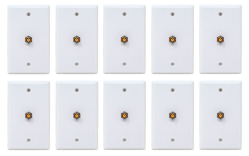 10 Pcs White Coax Cable 3 Ghz Satellite Wall Plate UL Certified DIRECTV Approved