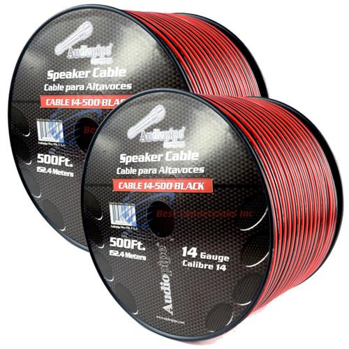 2 Rolls 14 Gauge 500 Feet Speaker Wire Red/Black Audiopipe Stranded Copper Clad