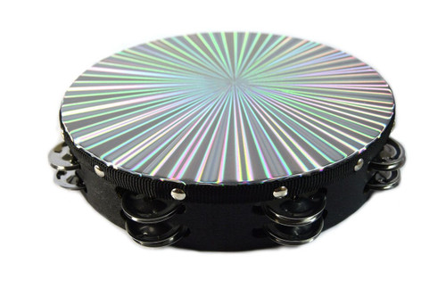 "10"" Tambourine Reflective Laser Patern Double Row Jingle"
