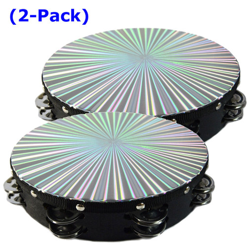 """Two 10"""" Tambourines Reflective Laser Patern Double Row Jingle"""
