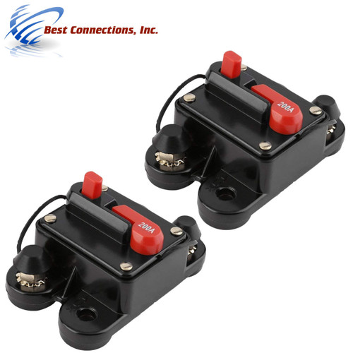 2 Pcs 200 Amp Circuit Breaker In-line 12V-24V Marine Car Stereo Audio 200A Reset