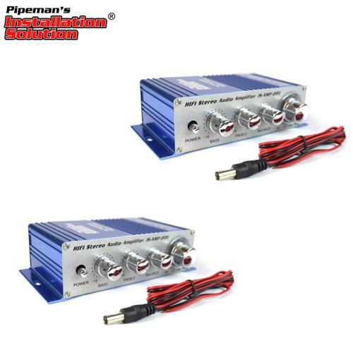 2-Pack 2 Channel Stereo PA Mini Amplifier 4 to 16 Ohm 20 Watt 3.5 Aux Input USB