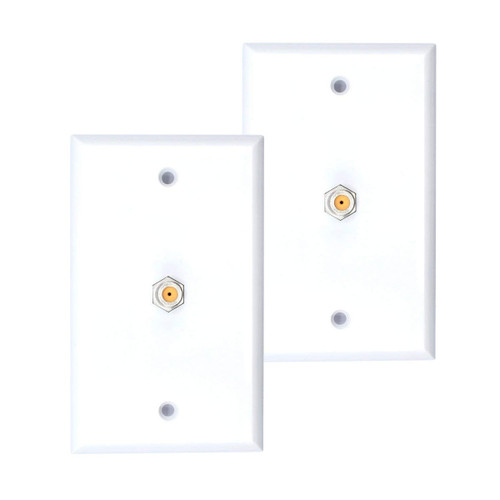 2 Pack White Single Coax Cable Wall Plate 1-Gang F Type Direct TV Approved