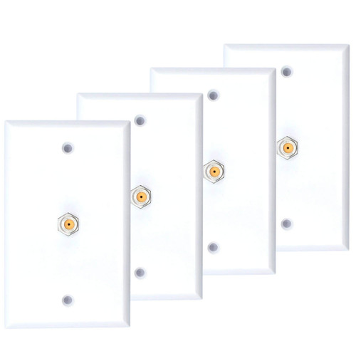 4 Pack White Single Coax Cable Wall Plate 1-Gang F Type Direct TV Approved