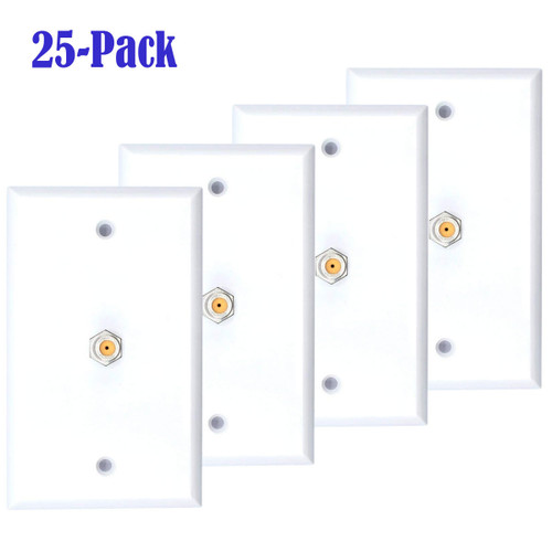 25 Pack White Single Coax Cable Wall Plate 1-Gang F Type Direct TV Approved