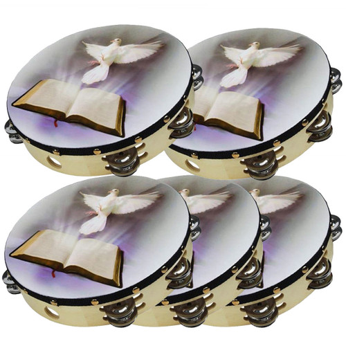 """5-Pack 10"""" Dove Bible Tambourine Double Row Jingle Percussion Instrument Church"""