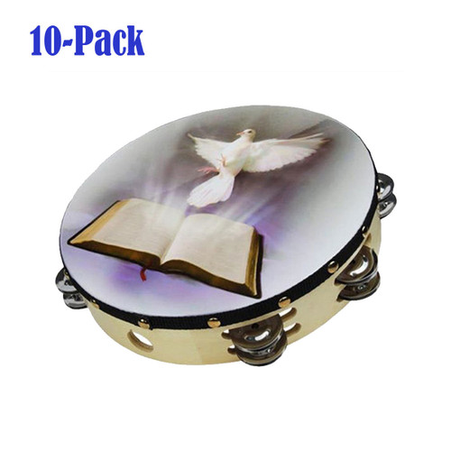 """10-Pack 10"""" Dove Bible Tambourine Double Row Jingle Percussion Instrument Church"""