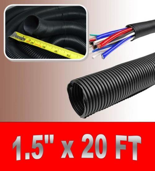 "1.5"" x 20' BLACK SPLIT LOOM TUBING Wire & Hose Cover Polyethylene Audio Video"