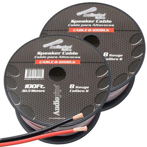 2-Rolls 8 Gauge Speaker Wire 200' ft Red/Black Car Audio Subwoofer Amplifier