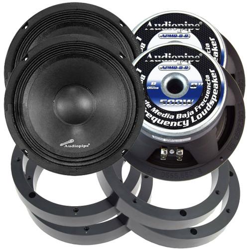 """2 Pairs Audiopipe 8"""" 500W Mid Range Loud Speakers with 1"""" Plastic Spacer Rings"""
