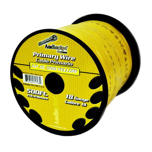 Audiopipe 18 Gauge Power Wire Remote Primary 500 Feet Yellow
