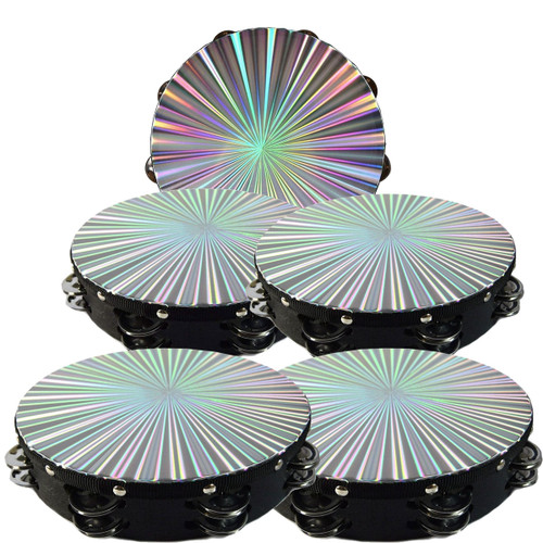 """5- Pack 10"""" Tambourine Reflective Laser Pattern Double Row Jingle"""