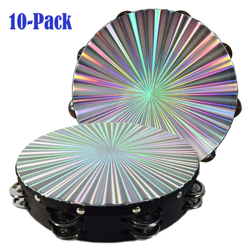 """10-Pack 10"""" Tambourine Reflective Laser Pattern Double Row Jingle"""