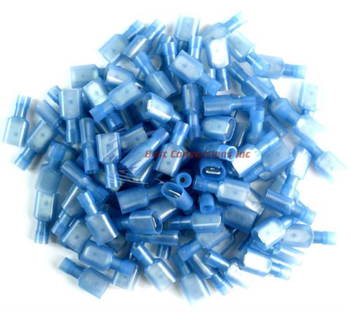 """Scosche Nylon Male Spade Quick Disconnect Blue 16-14 Gauge 0.250/"""" 100 Pieces//bag"""